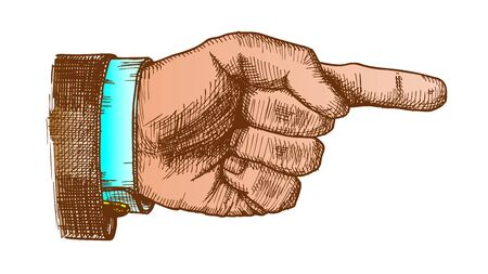Male Hand Pointer Finger Showing Gesture Vector. Businessman Index Finger Arrow Suggesting Direction Course. Man Forefinger Wrist Gesturing Choice Side View Closeup Color Illustration Standard-Bild - 132380350