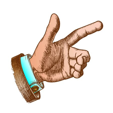 Male Hand Make Gesture Forefinger Color Vector. Man Showing Gesture Sign Looks Like Holding Gun and Ready For Shoot Or Push Button. Middle Annulary And Pinkie Finger. Gesturing Signal Illustration Illustration