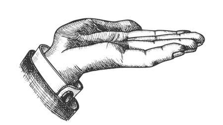 Geschäftsmann linke Hand machen Geste Vintage Vector. Man Zeigen Geste Geöffnete Palme Wie Holding Cookie. Demonstrieren Sie oder freuen Sie sich über ein gestikulierendes Signal im Retro-Stil