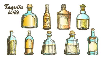 Stylish Collection Tequila Glass Bottle Set Vector. Sketch Of Different Design Modern And Vintage Bottle For Traditional Mexican Alcohol Drink. Bright Assortment Of Liquid Package Color Illustrations