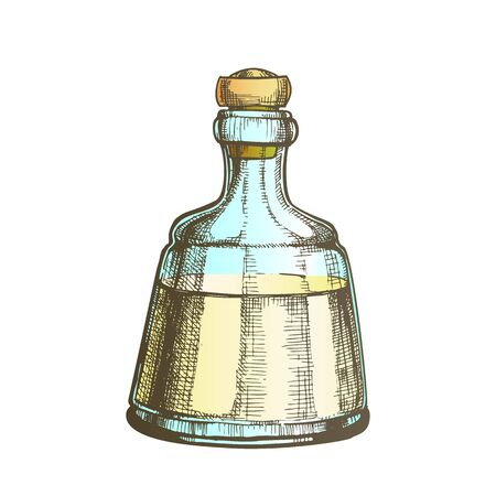 Decorative Crystal Carafe Tequila Drink Vector. Mexican Alcoholic Beverage In Elegance Closed Glass Bottle. Color Mockup Liquid Package For Celebrative Table. Illustration