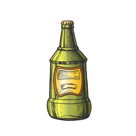 Hand Drawn Glass Bottle With Blank Label . Ink Design Sketch Vintage Bottle Of Alcoholic Froth Drink Lager Or Ale. Concept Color Package With Blank Label Template Cartoon Illustration