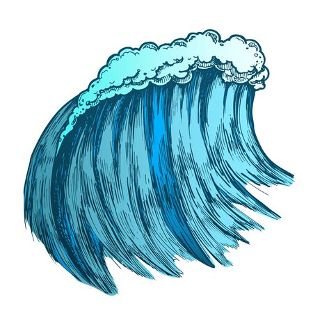 Big Foamy Tropical Sea Marine Wave Storm . Giant Water Wave Caused By Strong Wind Seascape Element. Motion Nature Aquatic Tsunami Color Hand Drawn Illustration Stock Photo