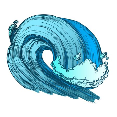 Breaking Tropical Sea Marine Wave Storm . Giant Foamy Water Wave Tunnel For Coastline Extreme Activity Surfing. Motion Nature Aquatic Tsunami Color Hand Drawn Illustration