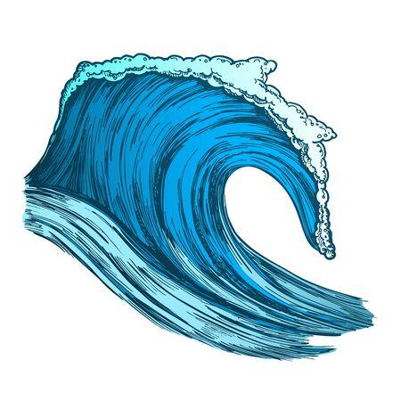 Rushing Tropical Ocean Marine Wave Storm . Foamy Water Marine Surge Dangerous Seascape Element Clean Breach. Motion Nature Aquatic Tsunami Color Hand Drawn Illustration