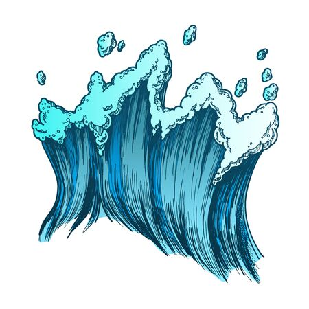 Rushing Tropical Sea Marine Wave With Drop . Tall Foamy Marine Purl Wind Storm Tide Surf Water. Motion Nature Aquatic Tsunami Power Color Hand Drawn Illustration