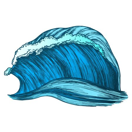 Rushing Wind Tropical Ocean Marine Wave . Great Standing Marine Purl Storm Tidal Stream Surf Water. Motion Nature Aquatic Tsunami Power Color Illustration