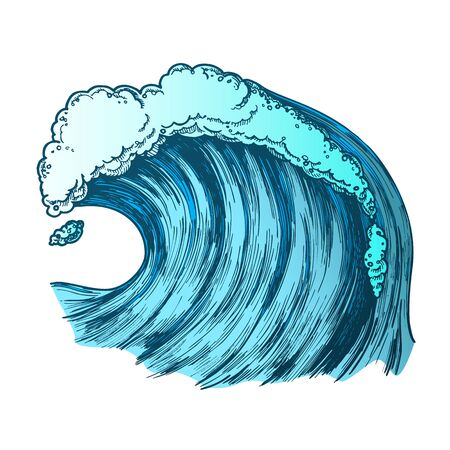 Rushing Foamy Tropical Ocean Marine Wave . Dangerous Great Cool Standing Marine Surge Storm Tidal Stream Surf Water. Motion Aqua Tsunami Power And Weather Concept Color Illustration