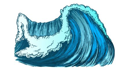 Breaking Pacific Ocean Marine Wave Storm . Enormous Huge Water Wave With Foam Good Place For Extreme Sport Surfing. Nature Aquatic Tsunami Color Illustration Stock Illustration - 127284117