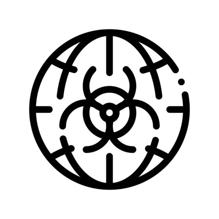 Biohazard Symbol Problem Vector Thin Line Icon. Earth Planet Environmental Problem, Industrial Pollution Linear Pictogram. Greenhouse Effect, Global Warming, Climate Change Contour Illustration