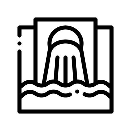 Waste Outpouring From Spout Vector Thin Line Icon. Industry Waste In Ocean Sea River Environmental Problem, Industrial Pollution, Contamination Linear Pictogram. Contour Illustration