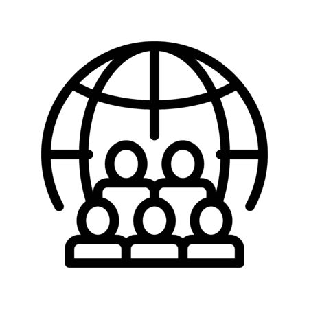 People Planet Earth Problem Vector Thin Line Icon. Overpopulation Surplus Population Environmental Problem, Industrial Pollution, Contamination Linear Pictogram. Contour Illustration