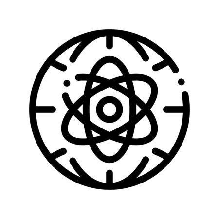 Atom Planet Earth Problema Vector icono de línea fina. Problema ambiental, contaminación industrial, pictograma lineal de contaminación. Efecto invernadero, calentamiento global, ilustración de contorno de cambio climático
