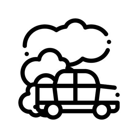 Car Co2 Carbonic Oxide Air Vector Thin Line Icon. Car Exhaust Gaz Dirty Air Environmental Pollution Defilement Linear Pictogram. Atmospheric Impurity, Soil And Water Contour Illustration