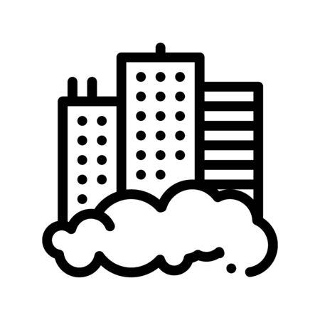 Building Skyscraper And Smog Vector Thin Line Icon. City Town Environmental Pollution, Chemical, Industrial Smog Linear Pictogram. Dirty Soil, Water, Air Contour Illustration