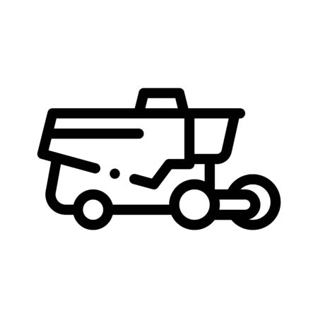 Reaping Harvester Vehicle Vector Thin Line Icon. Agricultural Harvester Wheel Farmland Countryside Equipment. Ingathering Machine Linear Pictogram. Monochrome Contour Illustration