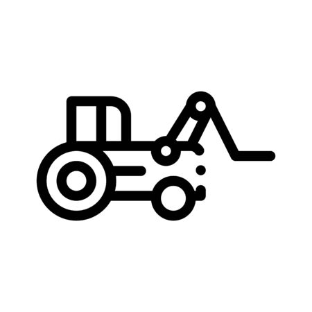 Case Loader Tractor Vehicle Vector Thin Line Icon. Agricultural Farm Lift Tractor, Machinery Linear Pictogram. Industry Loading Machine Equipment Black And White Contour Illustration Ilustração