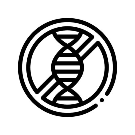 Allergen Free Sign Genom Vector Thin Line Icon. Hereditary Trait Allergen Free Linear Pictogram. Crossed Out Mark With Molecule Healthy. Designed Black And White Contour Illustration