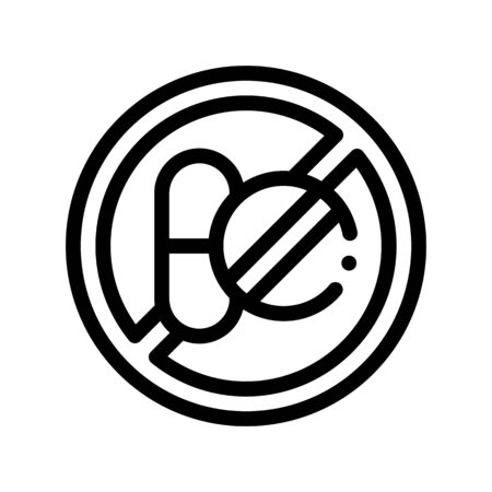 Allergen Free Sign Medicine Vector Thin Line Icon. Allergen Free Remedy Linear Pictogram. Crossed Out Mark Drug Medicament Healthy Produce. Black And White Contour Illustration