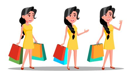 Character Young Woman Shopaholic With Bag . Beautiful Smiling Glamor Girl Enjoyment Shopogolic. Happy Fashion Pretty Brunette Customer With Purchases Flat Cartoon Illustration Banco de Imagens