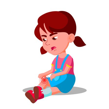 Crying Character Little Girl Bump Knee . Child Female Sitting On Floor And Blubbering Bruised Suffering From Pain In Knee. Illness And Healthcare Massage Flat Cartoon Illustration Zdjęcie Seryjne