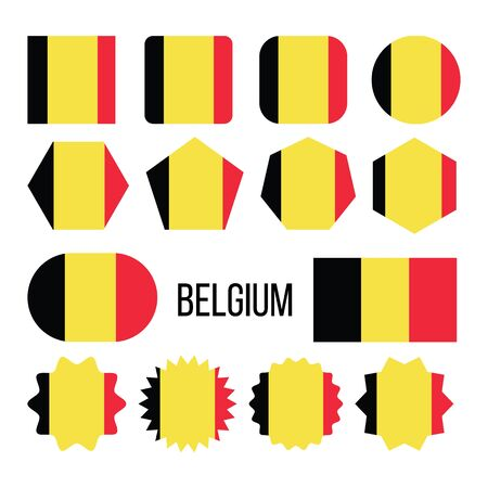 Belgium Flag Collection Figure Icons Set . Tricolour Of Three Bands Of Black, Yellow And Red On National Symbol Of Kingdom Of Belgium. Europe Design Flat Cartoon Illustration
