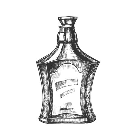 Drawn Scotch Bottle With Style Cork Cap . Ink Design Sketch Bottle Of Traditional Alcoholic Scotland Drink. Concept Monochrome Flask With Blank Label Template Cartoon Illustration
