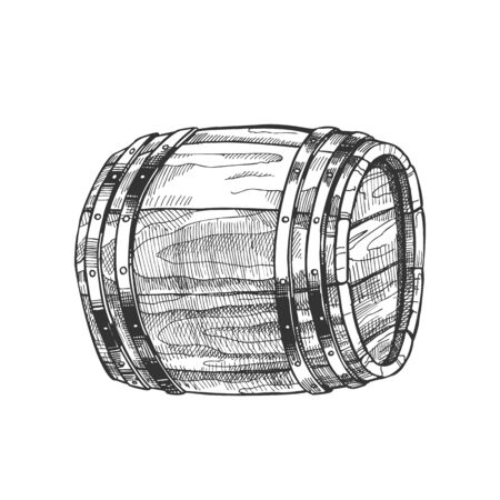 Drawn Lying Vintage Wooden Barrel Side View . Monochrome Standard Barrel For Making, Storage And Shipping Alcoholic Beverage Rum Production. Closeup Black And White Cartoon Illustration