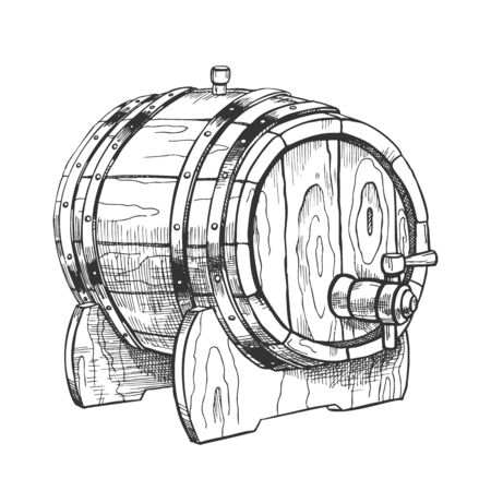 Vintage Drawn Barrel With Tap For Liquid . Lying On Wooden Stand Brewing Equipment For Production, Storaging And Shipping Beer To Pub Tavern. Closeup Object Monochrome Cartoon Illustration