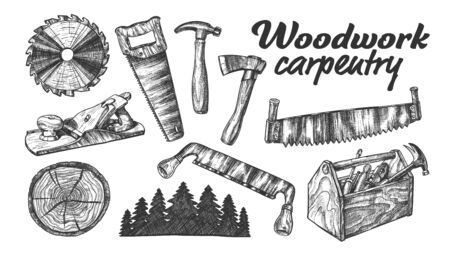 Woodwork Carpentry Collection Equipment Set . Hand Saw And Circular Blade, Wooden Slab And Forest, Tree Cross Section And Planer Tool, Hammer And Ax Carpentry Tools. Cartoon Illustration