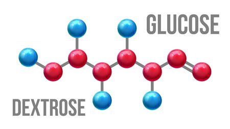 Glucose Dextrose Structure Molecular Model . Color Glossy Blue And Red Atom Spheres Compound Element Of Glucose Mockup. Formula Of Chemistry Science Realistic 3d Illustration Banco de Imagens