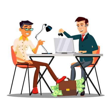 Happy Character Dealer Sold Car Customer . Smiling Man Giving Bag With Money To Dealer And Take Keys From Automobile. Seller Dealership Agent Contract Agreement Flat Cartoon Illustration