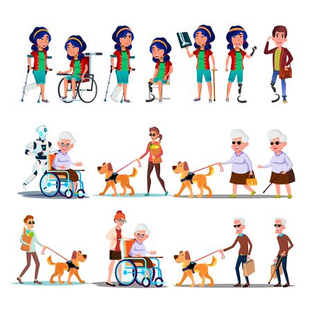 Different Character Person Invalid Set . Collection Of Invalid Woman With Broken Leg And Man Amputated Foot, Blind Grandfather With Dog And Grandmother In Wheel Chair Flat Cartoon Illustration Zdjęcie Seryjne