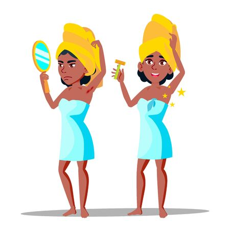 Character Young Woman With Hairy Armpit . Standing African Girl With Mirror Sad Before Depilation Hairy Part Of Body And After Happy And Smiling. Hygiene Concept Flat Cartoon Illustration Stockfoto - 127286981