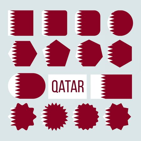 Qatar Flag Collection Figure Icons Set . White Band Separated From Maroon Area On Fly Side By Nine Triangles Which Act As Serrated Line On Symbol Of Qatar. Flat Cartoon Illustration
