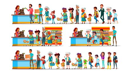 People Waiting In Long Queue To Cashier Set . Characters Customer Young And Old Man With Woman, Teenager And Children With Purchase In Supermarket Near Cashier. Flat Cartoon Illustration Stock Photo