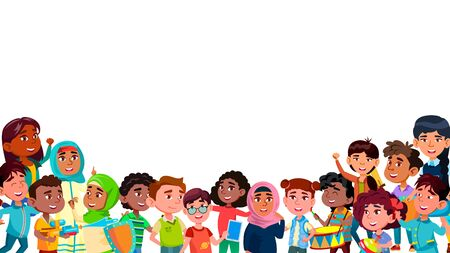 Group Of Mulicultural Smiling Children . Laughing Happy International Boys And Girls Children Different Nation Dress With Toys And Play Devices. Kids Standing Together Flat Cartoon Illustration