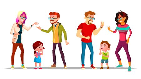Kids Crying Because Parents Are Divorcing . Angry Characters Husband And Wife Quarrel And Divorcing, Unhappy Children Boy And Girl Saddened. Family Conflict Flat Cartoon Illustration