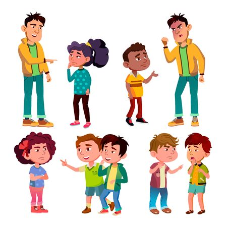 Sad And Angry Victim Character Boy And Girl . Teenager Boy Laughing And Swear On Victim Kids, Children Trolling Abusive Classmate. Social Bullying Concept Flat Cartoon Illustration