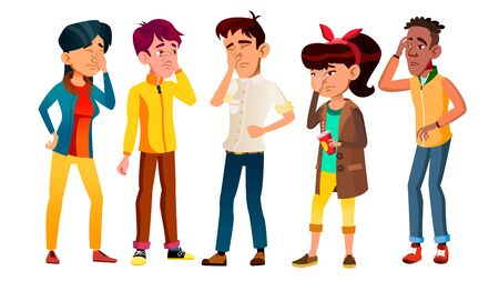 Ashamed Teenagers With Gesture Facepalm Set . Collection Of Mulicultural Character Young People With Facepalm. Depression, Headache, Disappointment Or Shame Flat Cartoon Illustration
