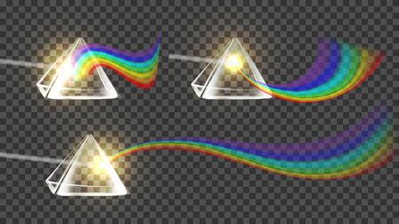 Prism And Spectrum Rainbow Collection Set . Dispersion Of Visible Light Going Through Glass Prism On Temporary Background. Optical Effect Educational Realistic 3d Illustration