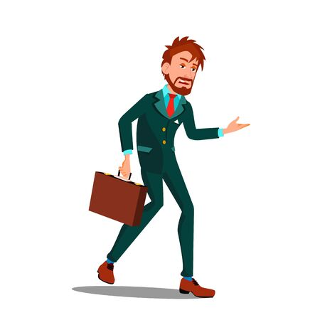 Exhausted Character Businessman After Work . Exhausted Tired Exhaustion Energy Employee Man After Heavy Job Going Home. Professional Burnout And Stress Flat Cartoon Illustration