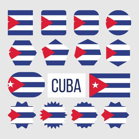 Cuba National Flag Collection Figure Set . Five Horizontal Blue And White Stripes With Red Equilateral Triangle Based On Star In Center On Symbol Of Cuba. Flat Cartoon Illustration