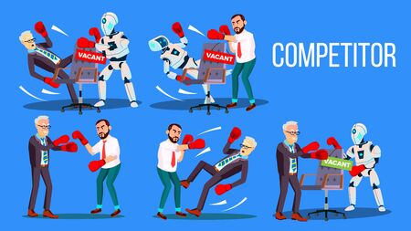 Competitor Of Work Vacancy Position Set . Character Man Fighting With Robot For Vacant Position Chair In Company. Business Battle Competition Colorful Flat Cartoon Illustration
