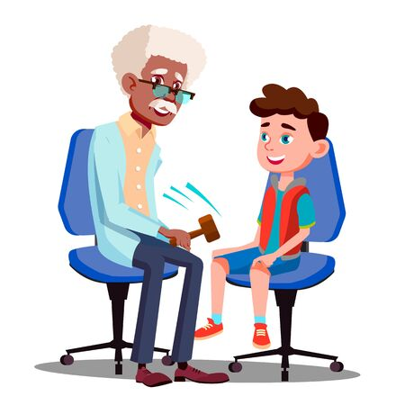Character Neurologist Checking Boy Reflex . Doctor Knocking Patella With Hammer For Diagnostic Reflex And Consultation Young Man In Hospital. Medicine Flat Cartoon Illustration