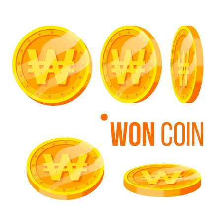 Won Coin Gambling Golden Money Currency Set . Round Yellow Coin Easy Earn In Online Internet Casino, Lottery And Bingo Game. Finance Wealth And Payment Flat Cartoon Illustration