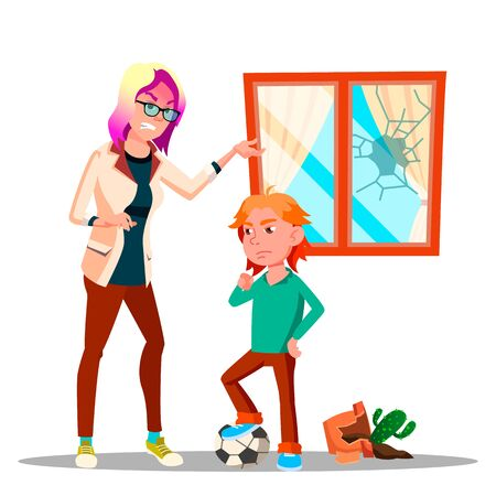 Angry Character Woman Yelling At Schoolboy . Mother Yelling Scolding At Sad, Upset Guilty Son Breaking Window And Vase With Cactus While Playing Soccer. Flat Cartoon Illustration