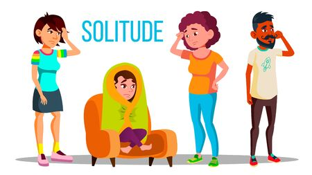 Solitude Character Depression Concept Set . Teenage Girl With Depression Wrapped In A Blanket, Unhappy And Crying Man, Frustrated Sad Woman. Lamentable Flat Cartoon Illustration