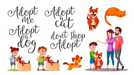 Modern Calligraphy Word Adopt Creative . Stylish Typography Inscription With Different Handwritten Adopt Cat Dog Shop Decorated Cartoon With Character Family And Animal. Text Flat Illustration