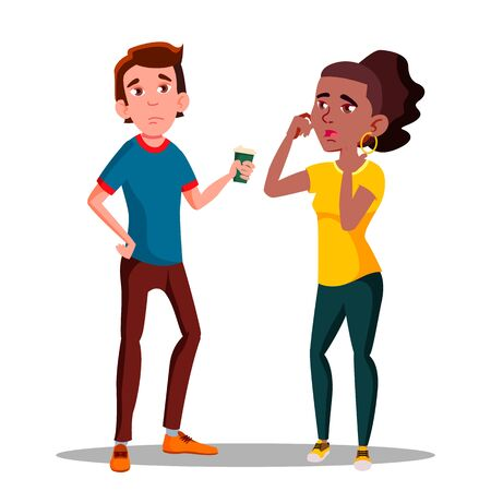 Sleepy Tired Characters Young Man And Girl . Bored Yawning Woman And Displeased Sleepy Sad Boy With Cup Of Coffee. Exhausted Feeling After Sleepless Night Flat Cartoon Illustration